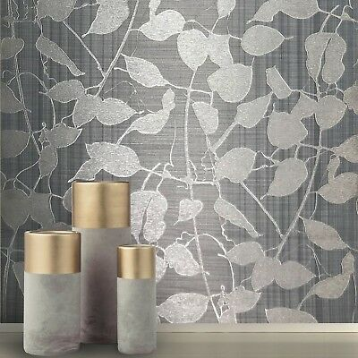 (Modern Wallpaper silver gray platinum Metallic Textured Tree Leaves striped roll)