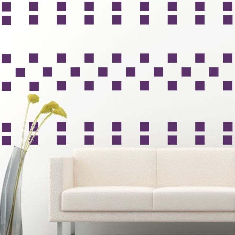 """100 of 4"""" Purple Squares Removable Peel & Stick Wall Vinyl Decal Sticker"""