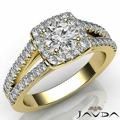 Halo Split Shank Round Cut Diamond Engagement French Pave Ring GIA H VS2 1.47Ct