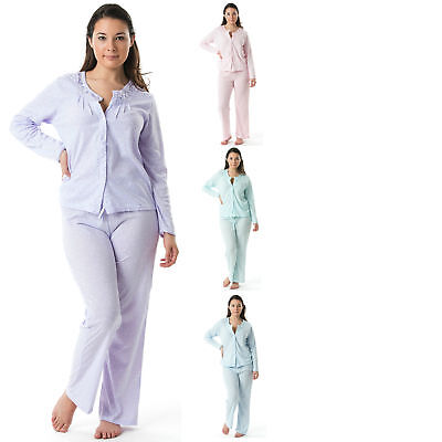 Casual Nights Women's Long Sleeve Embroidered Dot Pajama Set  - Embroidered Long Sleeve Pajama Set