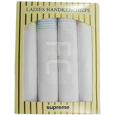 NEW WOMEN LADIES HANDKERCHIEFS 4 HANKIES MULTIPACK GIFT PRESENTATION BOX 28X28CM