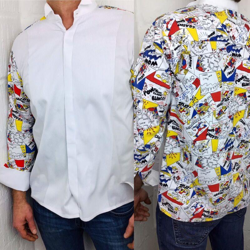 David Latimer Mens Mock Pleat Wing Collar Comic Print Dress Shirt White 16
