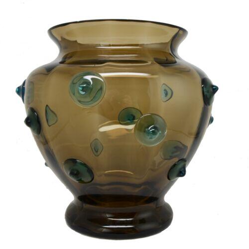 Large Czechoslovakian Kralik Art Glass Vase with Applied Prunts