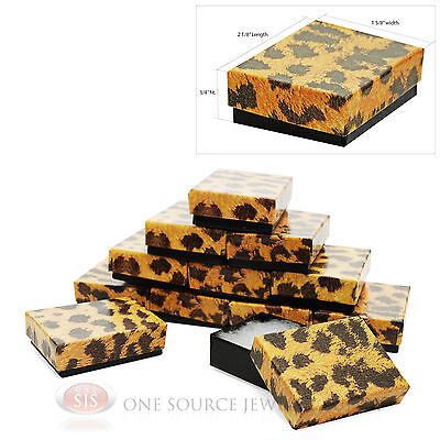 12 Leopard Print Cotton Filled Gift Boxes 1 78 X 1 14 Jewelry Charm Ring Box