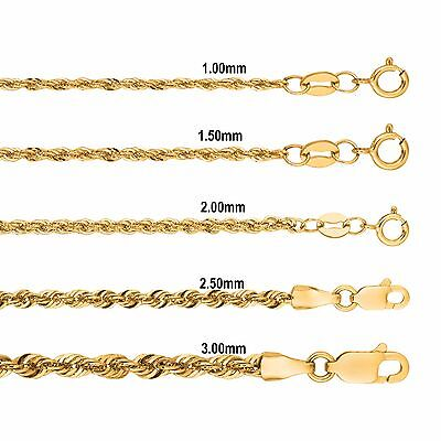 Gold Diamond Rope Ring (14k Yellow Gold Diamond Cut Lite Rope Chain with Lobster/Ring)