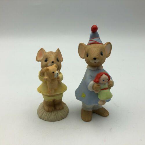 Vintage Enesco Mouse Figurine Lot Of 2 Teddy Bear + Doll So Cute   C3