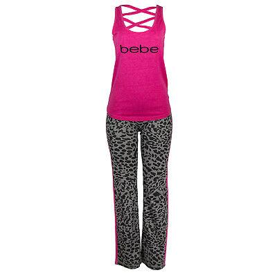 bebe Womens Tank Top and Long Pants Pajama Lounge Sleep Set Sizes S to -
