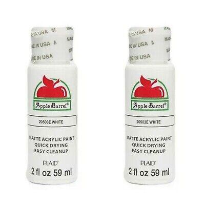 (2)Apple Barrel Matte Acrylic Paint Lot, Snow White, 21884E - NEW/SEALED! ⭐️