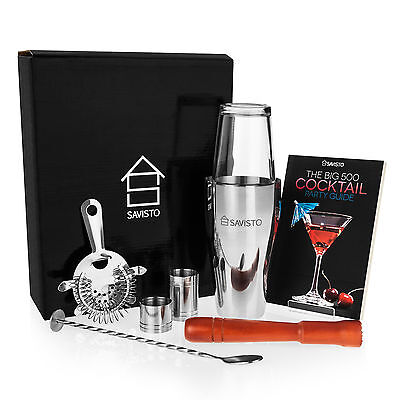 Savisto 8pc Boston Cocktail Shaker Gift Set + Mixer Making Bar Kit Accessories