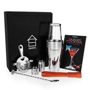 Savisto 8pc Boston Cocktail Shaker Gift Set + Mixer Making Bar Kit Accessories
