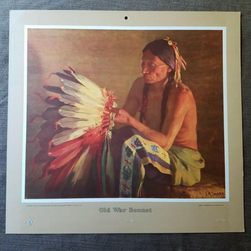 "Vintage 1950 Atchison, Topeka Santa Fe Railroad ""Old War Bonnet"" Calendar Top"