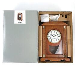 Seiko Mantel Chime Clock Pendulum Carriage Dark Brown Solid Oak Case QXJ114BLH