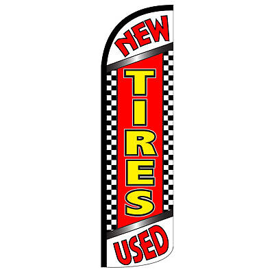 New Used Tires - Windless Swooper Feather Flag 3x11.5 Sign - Checkered Chrq