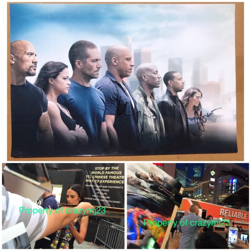 Dwayne Johnson Jordana Brewster Signed Hobbs and Shaw Fast Furious Autograph