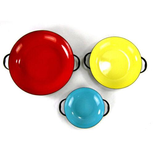 "Vintage Enamel Pans Set of 3 Nesting Handles Modern Red 9.5"" Yellow 7.5"" Aqua 6"""