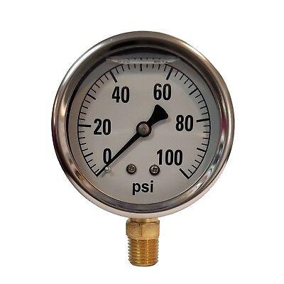2-12 Liquid Filled Gauge 0-100 Psi - 14 Npt Gas Oil Water Reducing Shock