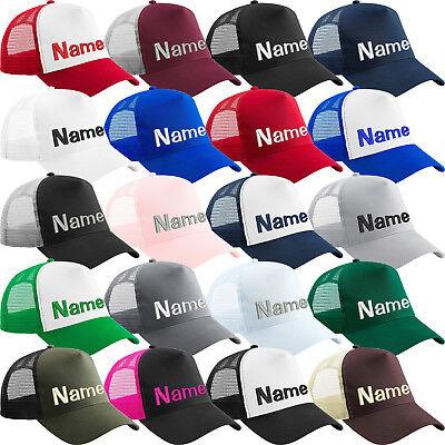 Snapback Trucker Cap bestickt mit Name / Text Basecap Kappe Mütze Cappy Mesh Cap