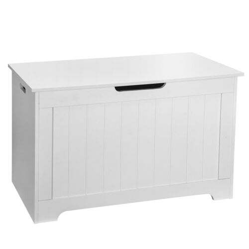 Lift Top Entryway Storage Chest Bench with 2 Safety Hinge Wooden Toy Box White Furniture