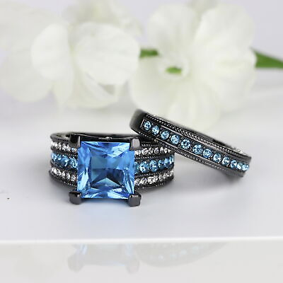 5 cttw 2pc Princess Cut Square Blue CZ Black Wedding Engagement Ring Set -