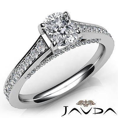 Bridge Accent Pave Cushion Diamond Engagement Cathedral Ring GIA F VS2 1.25 Ct