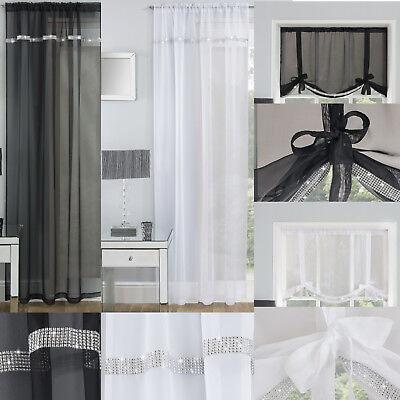 IBIZA Diamante Sparkle Voile Net Curtain Thin Ready Made Slot Top Single Panel