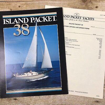 Vintage Sailboat Dealer Sales Brochure Island Packet Yachts 38 1986 Price List