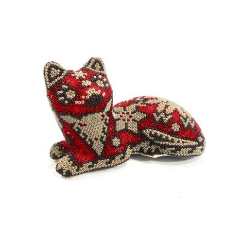 Huichol Beaded Cat Figurine Mexican Folk Art Signed COA Handmade Kitty Kitten