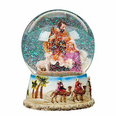 Christmas Nativity 100mm Snow Globe Wind Up Musical