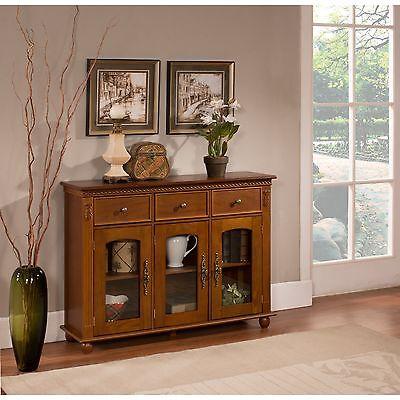 تربيزه جديد Walnut Finish Wood With Glass Doors Console Sideboard Buffet Table With Storage