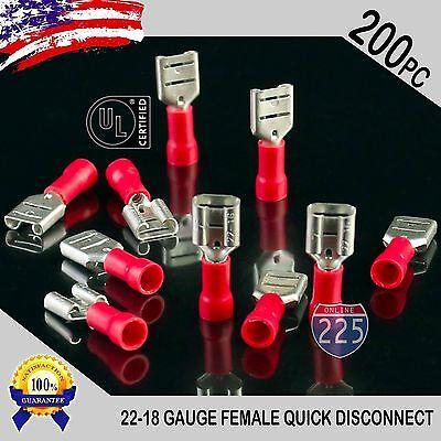 200 Pack 22-18 Gauge Female Quick Disconnect Red Vinyl Crimp Terminals .250 Us