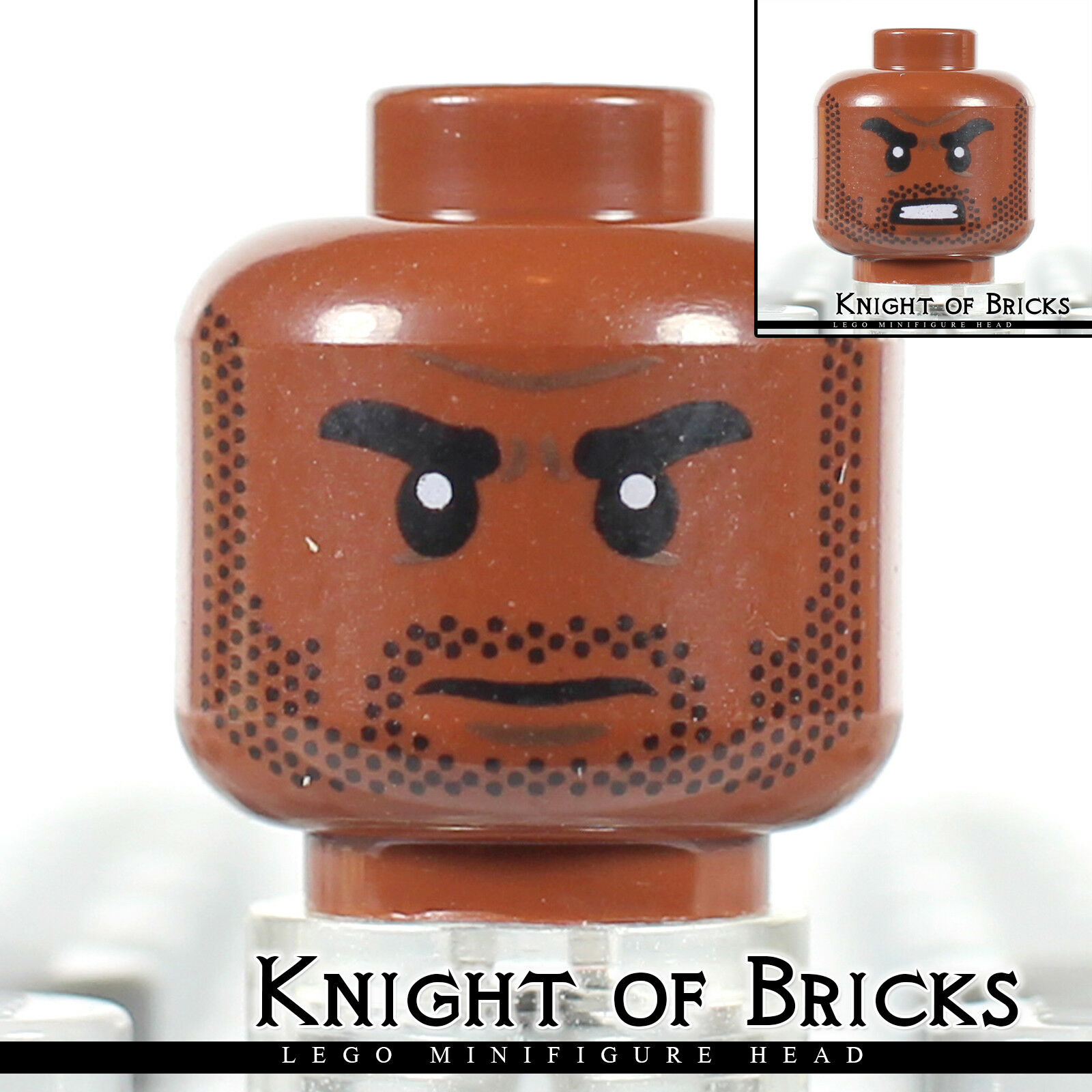 LEGO Minifigure Head LIGHT FLESH Male w DARK BROWN Eyebrows White Pupils Frown
