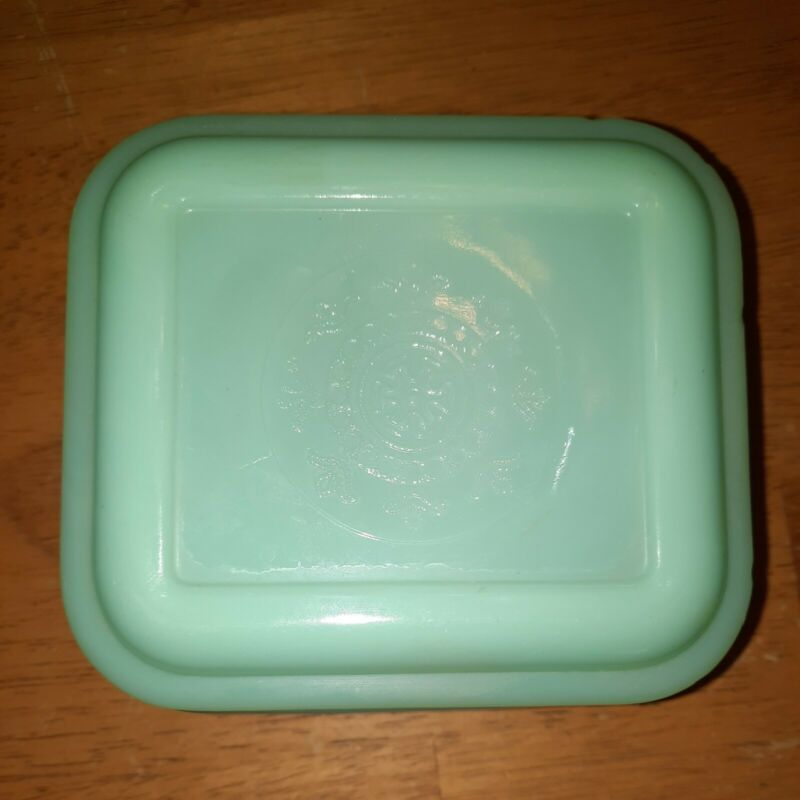 Vintage Fire-King Small Jadeite  Covered Refrigerator Dish