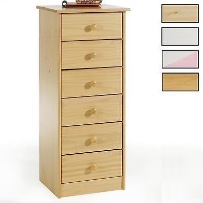Schublade Kiefer Kommode (Kommode Hochschrank mit 6 Schubladen Highboard Kiefer massiv lackiert in 3 Farbe)