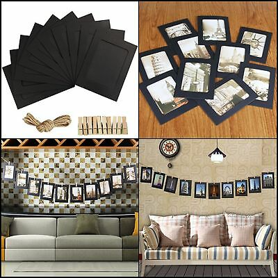 Picture Frame Set 4x6 Wall Photo Black Family Hanging Collage Frames Clothespins