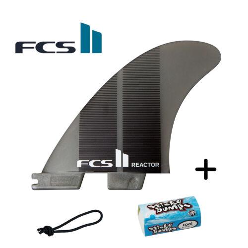 FCS II Reactor Neo Glass Medium Tri Fins + Free Leash String & Wax Bit Bar