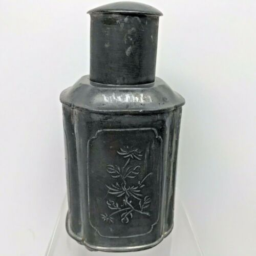 """Chinese Tea Caddy Flask Pewter Etched  Floral Vintage 5.5"""" Jug Footed with Lid"""