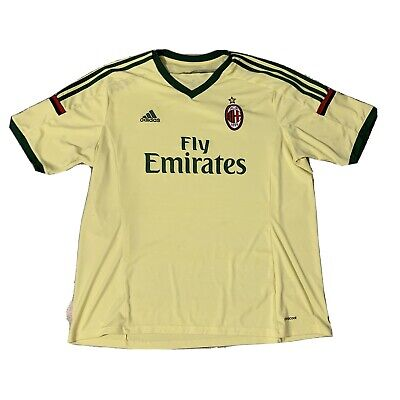 Adidas AC Milan Soccer Jersey Yellow 2XL Used Clima Cool Futbol FC Italy