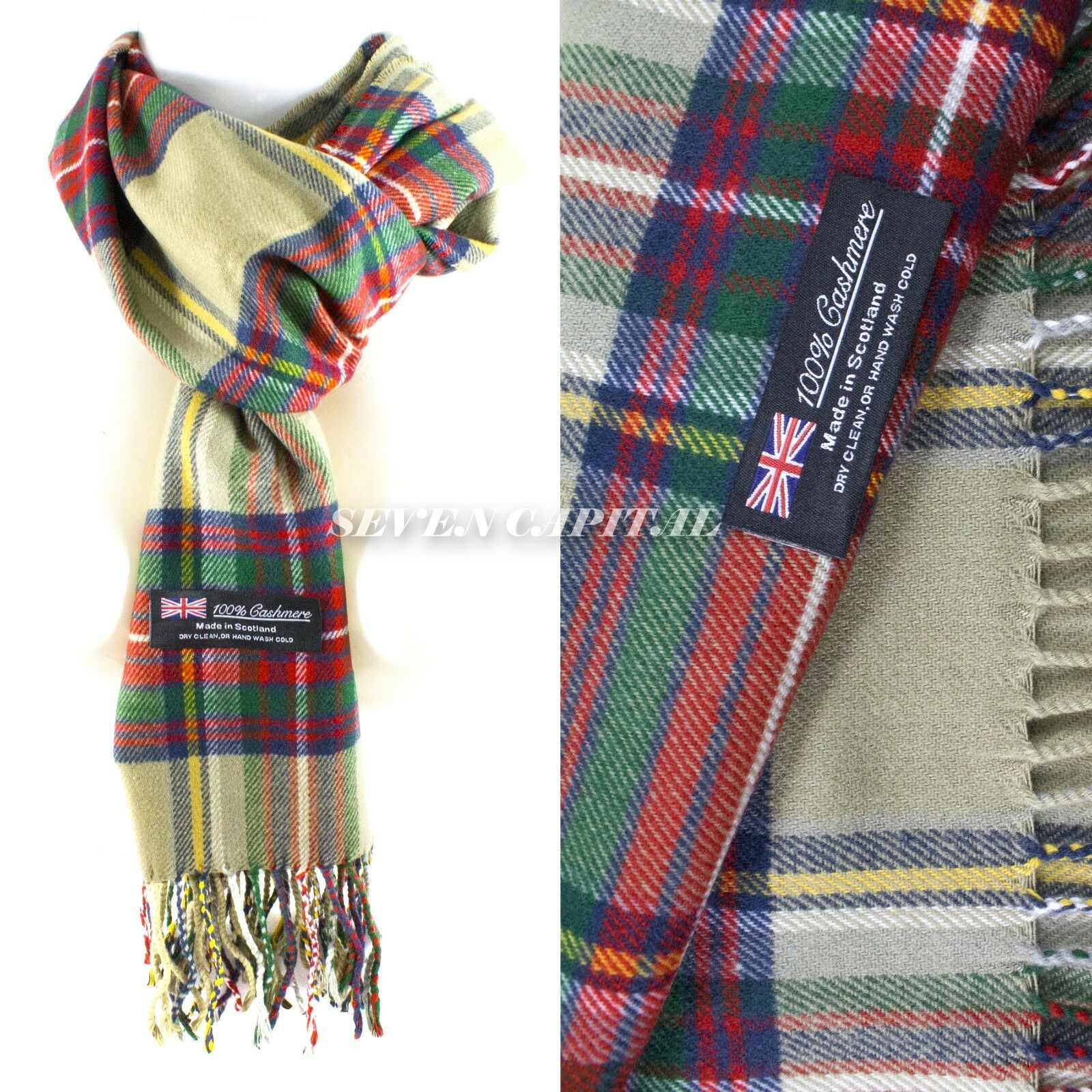 Mens Womens Winter Warm SCOTLAND Made 100% CASHMERE Scarf Scarves Plaid Wool 25. Plaid: Olive Red