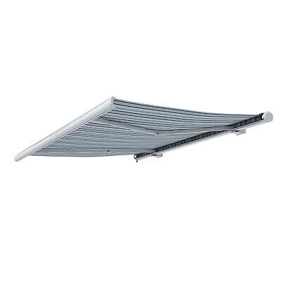 Markise Kassettenmarkise Sonnenschutz elektrisch 400x300cm Weiß Grau B-Ware