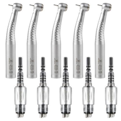 5Pcs 6H Big Dental Fiber Optic Handpiece + LED Coupler 4H fit KAVO Swivel YGD