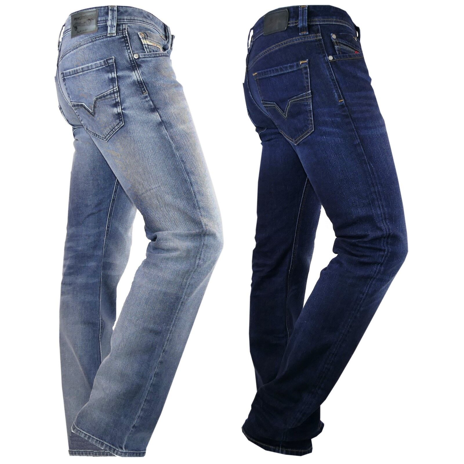 Diesel Jeans Larkee gerade Herren Hose dunkelblau hellblau Regular weit neu