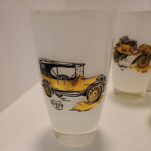 7 Vintage Milk Glass Tumbler Set 1914 Dodge 1910 Ford 1904 Olds 1911 Buick 14C - $29.99