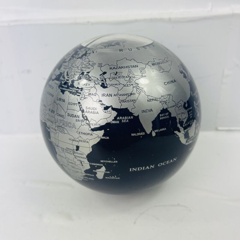 "MOVA Silver Blue Metallic Rotating Motion Globe 4.5"" Spinning Moving Earth"