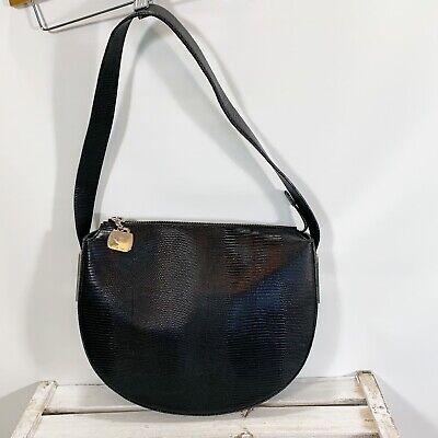 Roberto Donini Black Leather Shoulder Bag Half Moon Structured Top Zip Italy Half Moon Zip