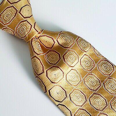 A10) IKE BEHAR GOLD GEOMETRIC 100% SILK NECKTIE MADE IN USA