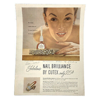 Vintage Nail Brilliance By Cutex Ad Page from Magazine Modern TV & Radio 1948