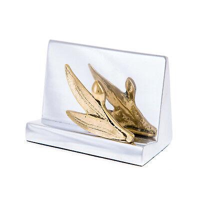 Business Card Holder Modern Handmade Of Aluminum Brass Olive Branch Design