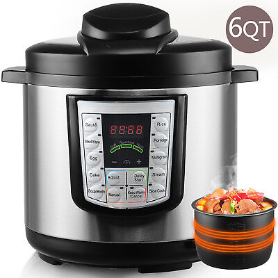 6QT Moving Pressure Cooker Programmable Multi-Functional Stainless Steel