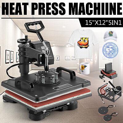 5 In 1 Heat Press Machine Swing Away T-shirt Mug Hat Transfer Sublimation 12x15