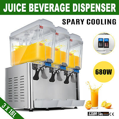 54l Stainless Steel Cold Juice Beverage Dispenser Commerical Cooler Drinks 3x18l